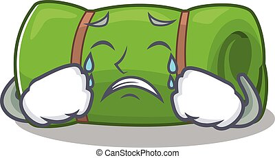 Sad Crying camping mat Scroll cartoon character design....