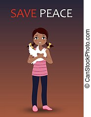 Sad crying girl holding a dove