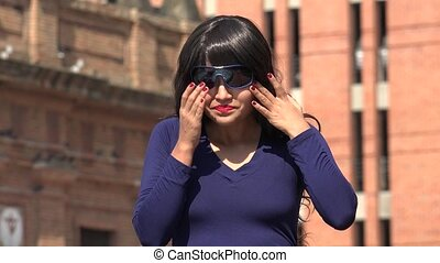 Sad Crying Woman Wearing Sunglasses And Wig