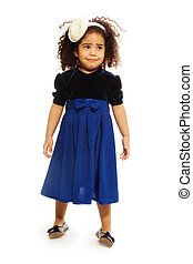 Sad cute black two years old girl with curly hair, isolated on white