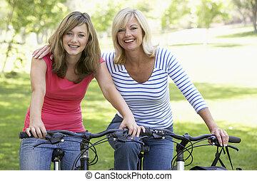 sad, cyklistika, dcera, skrz, matka
