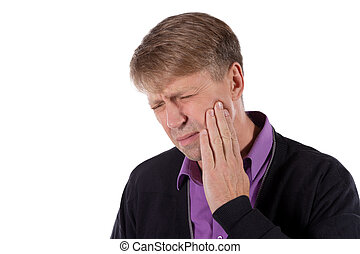 Sad depressed man in pain holding his cheek. Portrait of a man on white background. Emotion facial expression. Feelings and people reaction. Toothache