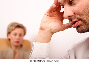sad depressed - Sad and depreesed business couple - portrait