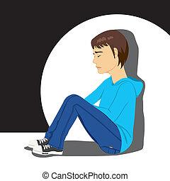Sad Depressed Teenager Boy - Sad teenager boy crying sitting...