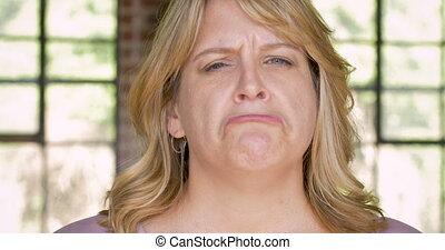 Sad depressed woman frowning and pouting - Sad depressed...