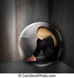 Sad Depressed Woman in Dark Bubble - A young woman is...