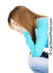Sad depressed woman portrait