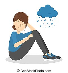Sad depressed woman with rainy cloud above as a metaphor of bad mood. Unlucky girl with desperate emotion on face. Isolated flat vector illustration