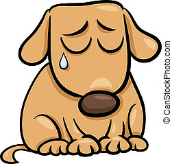 sad dog cartoon illustration - Cartoon Illustration of Cute...