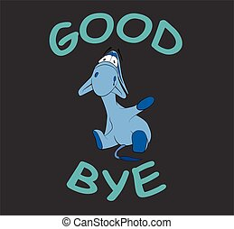 "Sad donkey waving hand with text ""Goodbye"", t-shirt graphics"