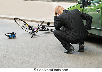 Sad Driver After Collision With Bicycle - Sad Male Driver...