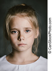 sad eight year old girl - Portrait of a beautiful eight year...