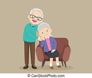 sad elderly woman sitting on sofa