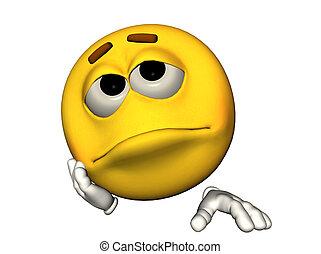 3D illustration of a sad emoticon