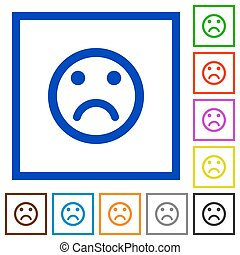 Sad emoticon framed flat icons