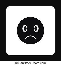Sad emoticon icon, simple style