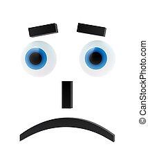 Sad emoticon with blue eyes on white