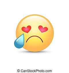 Sad enamored smiley with eyes in the form of hearts. Crying emoji face. Cute cartoon emoticon with tears from his eyes. Broken heart.