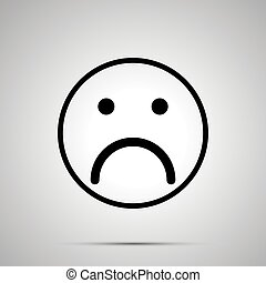 Sad face emoticon for rate of satisfaction level, simple black silhouette
