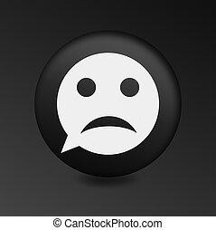 Sad face icon. Sadness depression chat symbol.