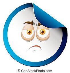 Sad face on sticker