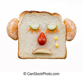 Sad face with fruit and vegetables