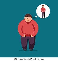 Sad Fat man. Vector flat illustration
