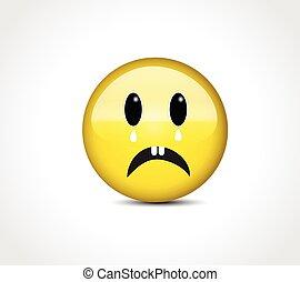 Sad feelings face emoticon icon