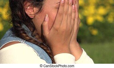 Sad Female Teen Crying