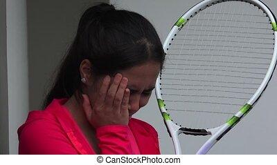 Sad Female Tennis Player