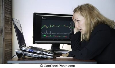 sad female trader watching currency exchange chart and upset. failures in trade transactions on a stock exchange
