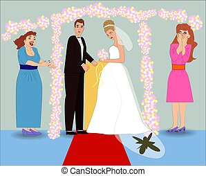 Sad fiancee with dirty dress, cartoon style. Illustration of...