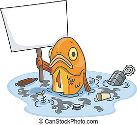 Sad Fish in Polluted Water With Blank Board