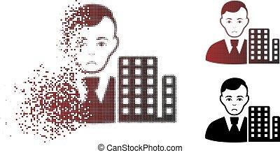 Sad Fragmented Pixel Halftone City Architect Icon