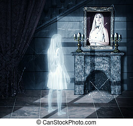 Sad white transparent woman ghost looking on her portrait on a wall in old castle