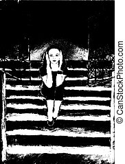 sad girl - sad little girl sitting on stairs