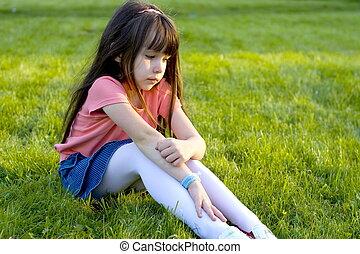 sad girl - girl on a meadow
