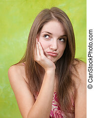Sad girl having disappointment - Sad teen girl having...