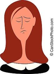 Sad girl illustration vector on white background