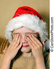 Sad Girl in Santa Hat