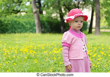 sad girl in spring park