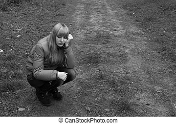 sad girl in the park