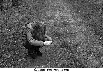sad girl in the park