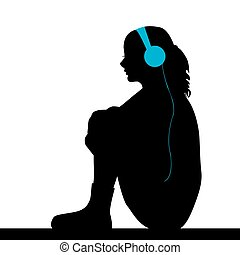 Sad girl listening music - Silhouette of sad girl listening...