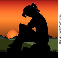Sad girl on an orange sunset sitting on a stone, covering her face,