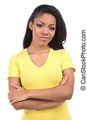 Sad girl. Portrait of beautiful African descent women...