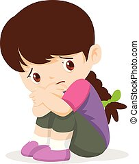Sad Girl, Depressed Girl looking lonely .Illustration of a sad child, helpless, bullying.