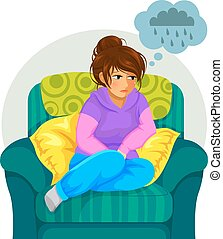 sad girl sitting on the sofa and thinking negative thoughts