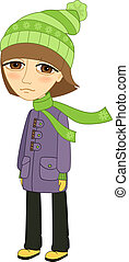 Sad girl standing alone and not smiling template isolated vector illustration