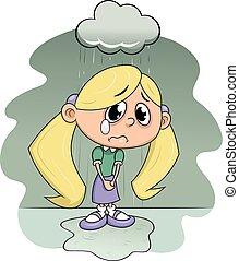 Sad girl under rain - Illustration of the sad girl crying...